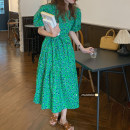 Dress Summer 2021 Green flowers , Purple flowers Average size Mid length dress singleton  Short sleeve commute square neck High waist Decor other puff sleeve 18-24 years old Type A Korean version 51% (inclusive) - 70% (inclusive) other