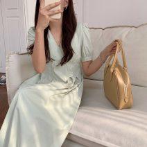 Dress Summer 2021 Sky blue, white, bean green Average size Mid length dress singleton  Short sleeve commute V-neck A-line skirt puff sleeve 18-24 years old Korean version 51% (inclusive) - 70% (inclusive)