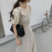 Dress Summer 2021 Floral skirt, short inside Average size Mid length dress Two piece set Long sleeves commute Crew neck High waist Solid color zipper other routine camisole 18-24 years old Type A Korean version Zipper, Ruffle 51% (inclusive) - 70% (inclusive) Chiffon polyester fiber