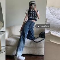 Fashion suit Summer 2021 S. M, l, average size Lingge vest, bear short T, white denim skirt, gradient jeans 18-25 years old 51% (inclusive) - 70% (inclusive)