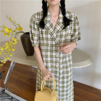 Dress Summer 2021 green Average size Mid length dress singleton  Short sleeve commute tailored collar High waist lattice Single breasted A-line skirt bishop sleeve Others 18-24 years old Type A Korean version pocket 51% (inclusive) - 70% (inclusive)