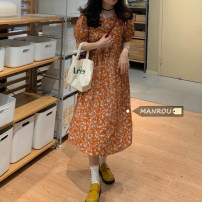 Dress Summer 2021 Picture color Average size Mid length dress singleton  Short sleeve commute Crew neck High waist A-line skirt puff sleeve 18-24 years old Korean version 51% (inclusive) - 70% (inclusive)