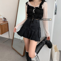 skirt Summer 2021 S,M,L,XL black Short skirt commute High waist A-line skirt Solid color Type A 18-24 years old 51% (inclusive) - 70% (inclusive) Denim pocket Korean version