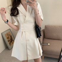 Dress Summer 2021 White, black Average size Short skirt singleton  Short sleeve commute Polo collar High waist Solid color Single breasted A-line skirt routine Others 18-24 years old Type A Other / other Korean version Button 51% (inclusive) - 70% (inclusive) other polyester fiber