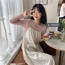 Dress Spring 2021 Pink top, light orange suspender skirt Average size Mid length dress singleton  Sleeveless commute other Loose waist Broken flowers other other other camisole 18-24 years old Korean version 51% (inclusive) - 70% (inclusive) other other