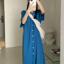 Dress Summer 2021 Blue, black Average size longuette singleton  Long sleeves commute Polo collar Loose waist Solid color Single breasted A-line skirt routine 18-24 years old Type A Korean version Button 51% (inclusive) - 70% (inclusive) polyester fiber