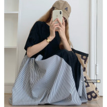 Dress Summer 2021 White, black Average size Mid length dress singleton  Short sleeve commute Crew neck Loose waist Socket One pace skirt routine 18-24 years old Korean version 51% (inclusive) - 70% (inclusive)