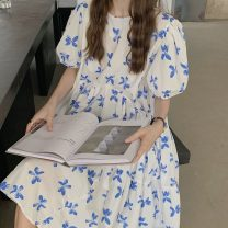 Dress Summer 2021 Picture color Average size Mid length dress singleton  Short sleeve commute Crew neck Loose waist Socket puff sleeve 18-24 years old Korean version 51% (inclusive) - 70% (inclusive)