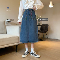 skirt Spring 2021 S,M,L,XL blue longuette commute High waist A-line skirt Solid color Type A 18-24 years old 51% (inclusive) - 70% (inclusive) Denim Other / other other pocket Korean version