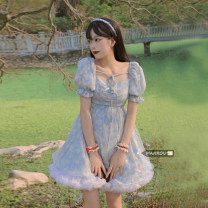 Dress Summer 2021 Pink dress, blue dress, white skirt S. M, l, average size Short skirt Two piece set Short sleeve commute square neck High waist other Socket A-line skirt puff sleeve Others 18-24 years old Type A Korean version Frenulum 51% (inclusive) - 70% (inclusive) other other