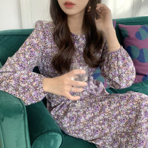 Dress Spring 2021 Picture color Average size Mid length dress singleton  Long sleeves commute Crew neck Loose waist Broken flowers Socket A-line skirt puff sleeve 18-24 years old Type A Other / other Retro Bandage 51% (inclusive) - 70% (inclusive) other other