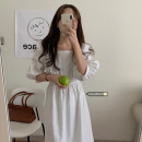 Dress Summer 2021 Apricot, white, black Average size Mid length dress singleton  elbow sleeve commute square neck High waist Solid color Socket A-line skirt bishop sleeve Others 18-24 years old Type A Korean version Splicing 51% (inclusive) - 70% (inclusive)
