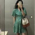 Dress Summer 2021 green S, M Short skirt singleton  Short sleeve commute V-neck High waist routine 18-24 years old Korean version 51% (inclusive) - 70% (inclusive) other polyester fiber