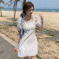 Dress Summer 2021 White, blue, yellow Average size Short skirt singleton  Short sleeve commute square neck High waist Solid color Socket A-line skirt puff sleeve 18-24 years old Type A Korean version fungus 51% (inclusive) - 70% (inclusive)