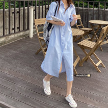 Dress Summer 2021 Green, blue Average size Mid length dress singleton  Short sleeve commute Polo collar High waist Solid color Single breasted other routine Others 18-24 years old Type H Korean version Button 51% (inclusive) - 70% (inclusive)