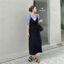 Dress Spring 2021 Yellow, black, Tibetan blue S, M Mid length dress Fake two pieces Short sleeve commute Crew neck High waist Solid color Socket A-line skirt bishop sleeve Others 18-24 years old Type A Korean version Lace up, stitching 51% (inclusive) - 70% (inclusive) other