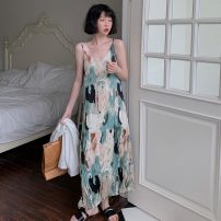 Dress Spring 2021 Picture color Average size longuette singleton  Sleeveless commute V-neck Loose waist Decor Big swing routine camisole 18-24 years old Type A Korean version 51% (inclusive) - 70% (inclusive) Chiffon