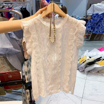 Lace / Chiffon Summer 2021 White, blue, pink S,M,L,XL Short sleeve commute Socket singleton  Straight cylinder Regular stand collar other Flying sleeve 18-24 years old Other / other Hollowed out, Gouhua hollowed out, stitching, buttons Korean version 71% (inclusive) - 80% (inclusive)