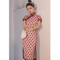 cheongsam Summer 2021 M L XL XXL XXXL Red Diamonds Short sleeve long cheongsam Retro High slit daily Oblique lapel other 18-25 years old Piping HH-202 Love clothes other Other 100% Pure e-commerce (online only)