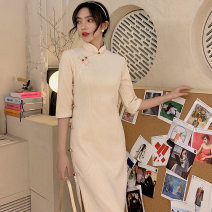 cheongsam Winter 2020 M L XL XXL XXXL BEIGE BLACK Long sleeves Single cheongsam literature Low slit daily Oblique lapel Solid color 18-25 years old Piping YX-8007 Love clothes polyester fiber Polyester 95% polyurethane elastic fiber (spandex) 5% Exclusive payment of tmall