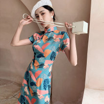 cheongsam Spring 2021 S M L XL XXL Su Ning Short sleeve long cheongsam Retro Low slit daily Oblique lapel other 18-25 years old Piping YHH - two thousand three hundred and two Love clothes polyester fiber Polyester 100% Exclusive payment of tmall