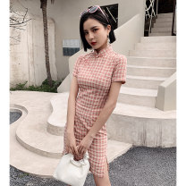 cheongsam Spring 2021 S M L XL XXL Powder grid Short sleeve Short cheongsam Retro Low slit daily Oblique lapel lattice 18-25 years old Piping Love clothes other Other 100% Pure e-commerce (online only)