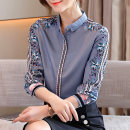 shirt Grey blue apricot S M L XL XXL Spring 2021 polyester fiber 91% (inclusive) - 95% (inclusive) Long sleeves commute Regular stand collar Single row multi button routine Broken flowers 25-29 years old Self cultivation Sderl / sundel Retro