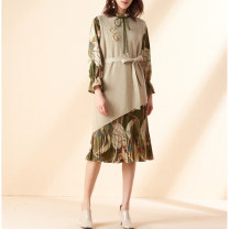 Dress Spring 2021 Olive army green S,M,L,XL,2XL Mid length dress Two piece set Nine point sleeve commute V-neck High waist Big flower Socket other pagoda sleeve Others 30-34 years old Type X Retro printing More than 95% other