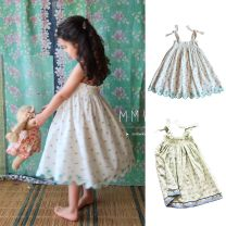 Dress White Floral + dress-s, blue print + dress-s, VX: mmwkids1, blue print is green background female Other / other 2Y 85-95cm, 4Y 95-105cm, 6y 105-115cm, 8y 115-125cm, 10Y 125-135cm, do not shoot Other 100% Plants and flowers other Skirt / vest