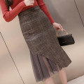 skirt Spring 2021 S,M,L,XL Khaki, grey Mid length dress Versatile High waist lattice 18-24 years old 9 12 Other / other