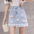 skirt Summer 2021 S,M,L,XL,2XL Light blue skirt Short skirt Sweet High waist A-line skirt Solid color Type A 18-24 years old N2 22 Denim cotton solar system