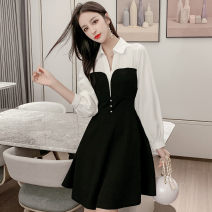 Dress Spring 2021 black S,M,L,XL Middle-skirt singleton  Long sleeves commute V-neck middle-waisted Solid color Socket A-line skirt routine Others 18-24 years old Type A Korean version Inlay drill, splice N11 30 81% (inclusive) - 90% (inclusive) other polyester fiber