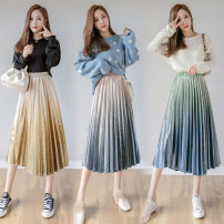 skirt Winter 2021 S,M,L,XL Gradual change apricot, gradual change yellow, gradual change green Mid length dress commute High waist Pleated skirt 25-29 years old N8 15 Other / other fold Korean version
