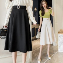 skirt Summer 2021 S,M,L,XL Apricot, black Mid length dress commute High waist Umbrella skirt Solid color Type A 18-24 years old polyester fiber Button Retro