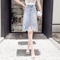 skirt Summer 2021 S,M,L,XL,2XL blue Mid length dress Versatile High waist Irregular Type A 18-24 years old 71% (inclusive) - 80% (inclusive) Other / other