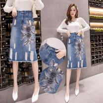 skirt Summer 2021 S,M,L,XL,2XL blue Mid length dress commute High waist 18-24 years old N2 28 Korean version