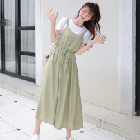 Dress Summer 2021 Apricot suspender skirt, green suspender skirt, apricot suspender skirt + white T-shirt, green suspender skirt + white T-shirt Average size longuette Sleeveless Sweet Solid color Single breasted Big swing camisole 18-24 years old Other / other Frenulum 6 10 2 college