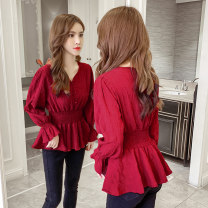 Lace / Chiffon Spring 2021 Green, crimson S,M,L,XL Long sleeves commute Socket singleton  Regular V-neck Solid color 18-24 years old Other / other 8 30 3 Korean version