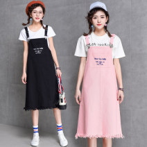 Dress Spring of 2018 S,M,L,XL Mid length dress singleton  Sweet letter straps 18-24 years old Type A Other / other straps cotton college