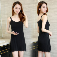 Vest sling Summer 2021 singleton  Medium length easy commute camisole Solid color 18-24 years old modal  Stitching, lace