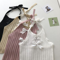Vest sling Summer 2021 White, pink, black, khaki Average size singleton  have cash less than that is registered in the accounts Self cultivation commute Hanging neck style Solid color 18-24 years old 51% (inclusive) - 70% (inclusive) Bow, open back