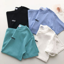 T-shirt Lake blue, black, white, blue Average size Summer 2021 Short sleeve Crew neck Straight cylinder Regular commute other 51% (inclusive) - 70% (inclusive) 18-24 years old Korean version Solid color, letter Embroidery