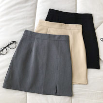 skirt Summer 2021 S,M,L Black, grey, apricot Short skirt commute High waist Solid color Type A 18-24 years old 51% (inclusive) - 70% (inclusive) zipper Korean version