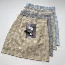 skirt Summer 2021 S,M,L blue , Light yellow , grey , Light green Short skirt commute High waist lattice Type A 18-24 years old 51% (inclusive) - 70% (inclusive) Button, zipper Korean version