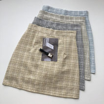 skirt Summer 2021 S,M,L blue , Light yellow , grey , Light green Short skirt commute High waist lattice Type A 18-24 years old 51% (inclusive) - 70% (inclusive) Button, zipper Korean version