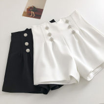 Casual pants Black, white S,M,L Summer 2021 shorts Wide leg pants High waist commute routine 18-24 years old 51% (inclusive) - 70% (inclusive) Korean version Diamond inlay