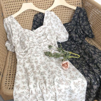 Dress Summer 2021 Black, off white Average size Mid length dress singleton  Short sleeve commute square neck Broken flowers zipper 18-24 years old Type A Korean version printing 51% (inclusive) - 70% (inclusive)