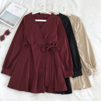 Dress Winter of 2019 Black, red, apricot Average size Middle-skirt singleton  Long sleeves commute V-neck Solid color Socket 18-24 years old Korean version Bow, tie