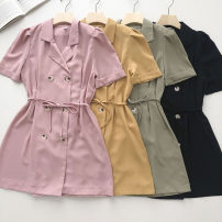 Dress Summer 2021 Khaki, army green, black, pink Average size Short skirt singleton  Short sleeve commute tailored collar Solid color double-breasted 18-24 years old Type A Korean version Frenulum 51% (inclusive) - 70% (inclusive)