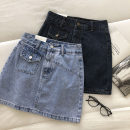 skirt Summer 2021 S,M,L Blue, grayish blue Short skirt commute High waist Solid color Type A 18-24 years old 51% (inclusive) - 70% (inclusive) Button, pocket Korean version